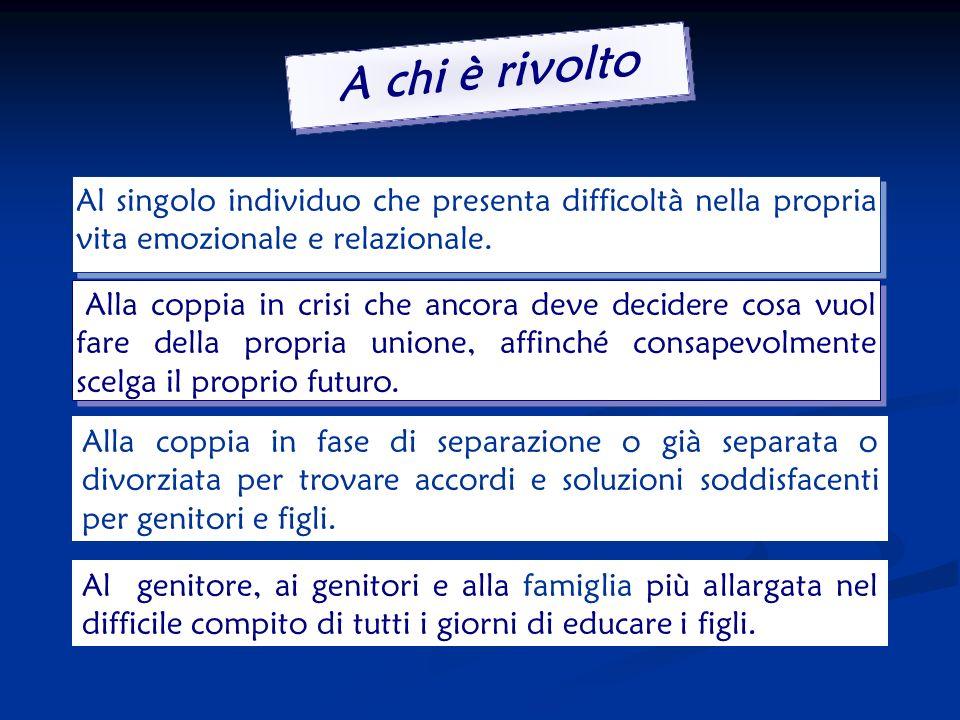 Obiettivo - - Facilitare il dialogo tra genitori separati affinché entrambi mantengano il proprio ruolo - - Prevenire il danno al minore esposto alla