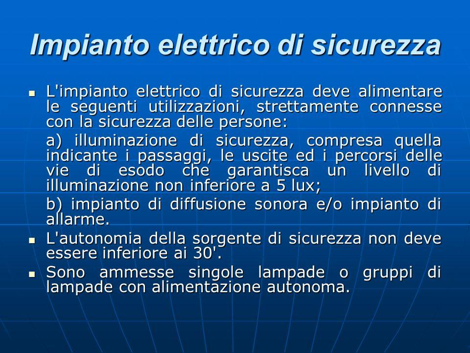 Impianto elettrico di sicurezza L'impianto elettrico di sicurezza deve alimentare le seguenti utilizzazioni, strettamente connesse con la sicurezza de
