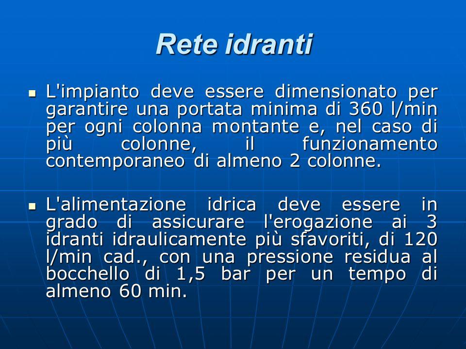 Rete idranti L'impianto deve essere dimensionato per garantire una portata minima di 360 l/min per ogni colonna montante e, nel caso di più colonne, i