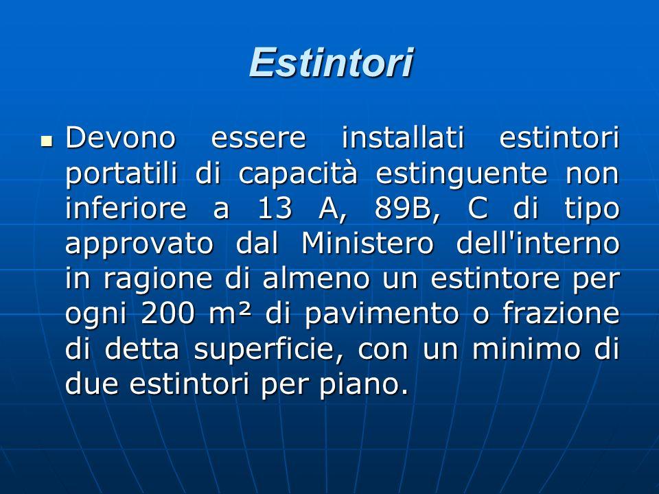 Estintori Devono essere installati estintori portatili di capacità estinguente non inferiore a 13 A, 89B, C di tipo approvato dal Ministero dell'inter