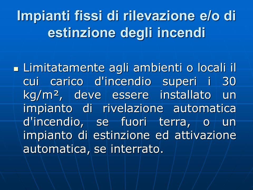 Impianti fissi di rilevazione e/o di estinzione degli incendi Limitatamente agli ambienti o locali il cui carico d'incendio superi i 30 kg/m², deve es