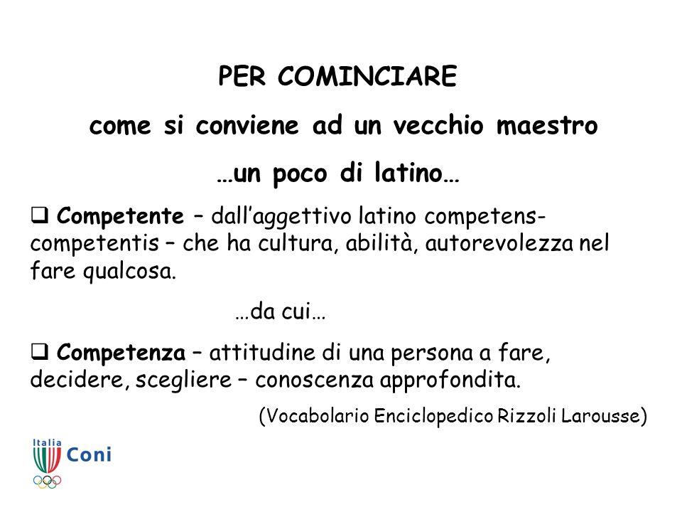 PER COMINCIARE come si conviene ad un vecchio maestro …un poco di latino… Competente – dallaggettivo latino competens- competentis – che ha cultura, a