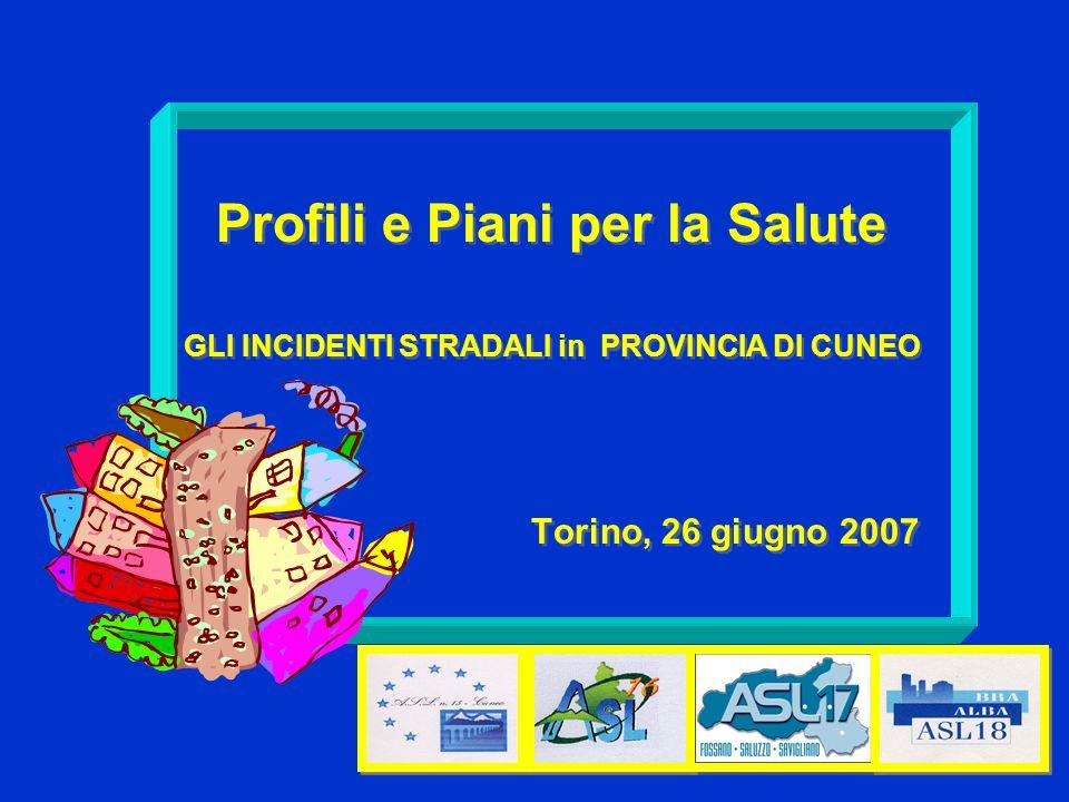Profili e Piani per la Salute GLI INCIDENTI STRADALI in PROVINCIA DI CUNEO Torino, 26 giugno 2007 Profili e Piani per la Salute GLI INCIDENTI STRADALI