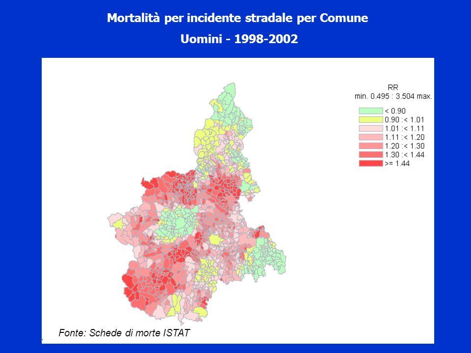 Mortalità per incidente stradale per Comune Uomini - 1998-2002 Fonte: Schede di morte ISTAT
