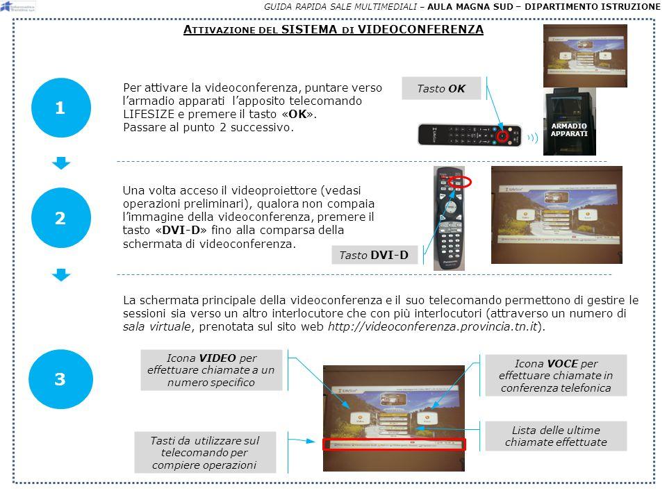 3 GUIDA RAPIDA SALE MULTIMEDIALI – AULA MAGNA SUD – DIPARTIMENTO ISTRUZIONE A TTIVAZIONE DEL SISTEMA DI VIDEOCONFERENZA 1 Tasto DVI-D Una volta acceso il videoproiettore (vedasi operazioni preliminari), qualora non compaia limmagine della videoconferenza, premere il tasto «DVI-D» fino alla comparsa della schermata di videoconferenza.