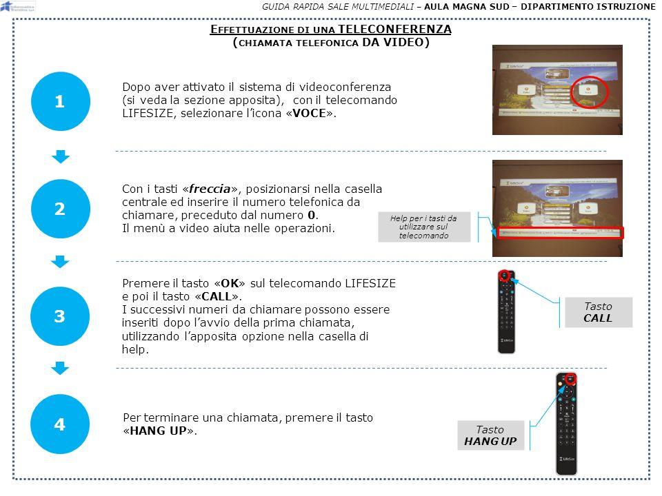 GUIDA RAPIDA SALE MULTIMEDIALI – AULA MAGNA SUD – DIPARTIMENTO ISTRUZIONE E FFETTUAZIONE DI UNA TELECONFERENZA ( CHIAMATA TELEFONICA DA VIDEO) Dopo aver attivato il sistema di videoconferenza (si veda la sezione apposita), con il telecomando LIFESIZE, selezionare licona «VOCE».