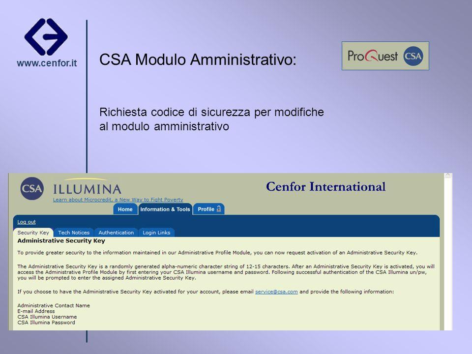 www.cenfor.it CSA Modulo Amministrativo: Richiesta codice di sicurezza per modifiche al modulo amministrativo