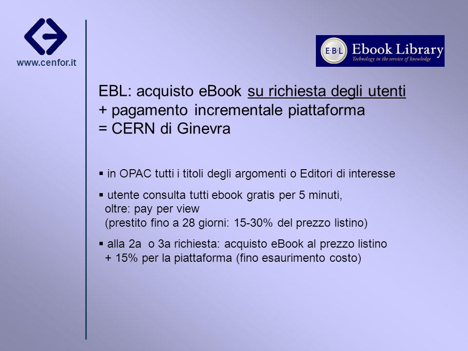 www.cenfor.it EBL: acquisto eBook su richiesta degli utenti + pagamento incrementale piattaforma = CERN di Ginevra in OPAC tutti i titoli degli argome