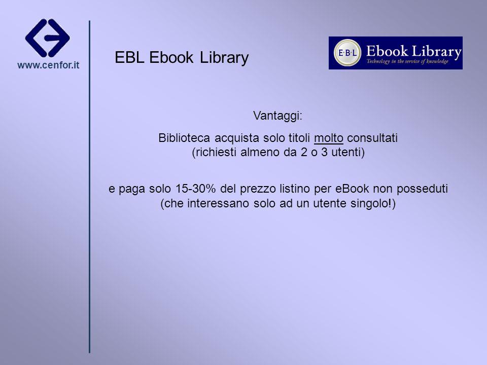 www.cenfor.it Vantaggi: Biblioteca acquista solo titoli molto consultati (richiesti almeno da 2 o 3 utenti) e paga solo 15-30% del prezzo listino per