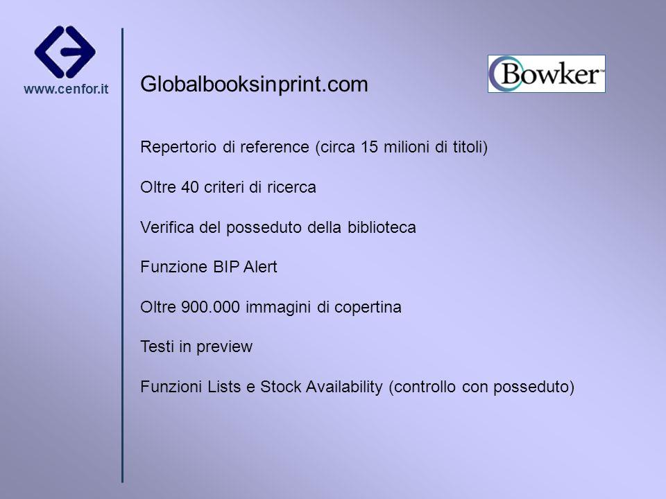 www.cenfor.it Globalbooksinprint.com Repertorio di reference (circa 15 milioni di titoli) Oltre 40 criteri di ricerca Verifica del posseduto della bib