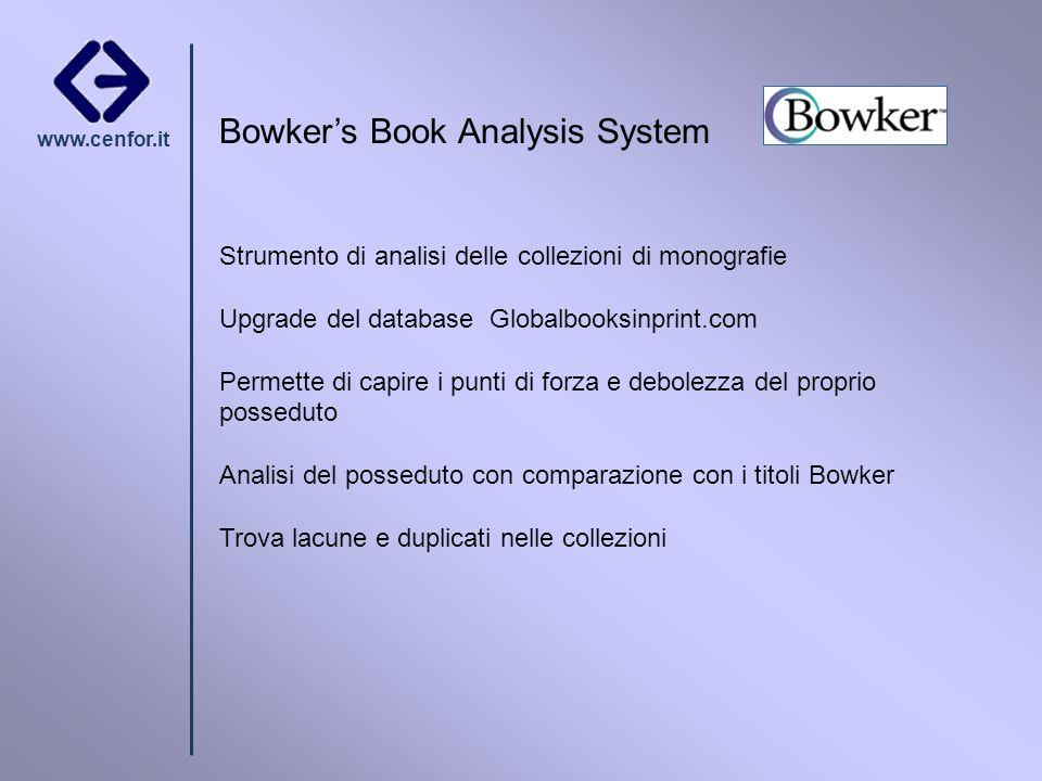 www.cenfor.it Bowkers Book Analysis System Strumento di analisi delle collezioni di monografie Upgrade del database Globalbooksinprint.com Permette di