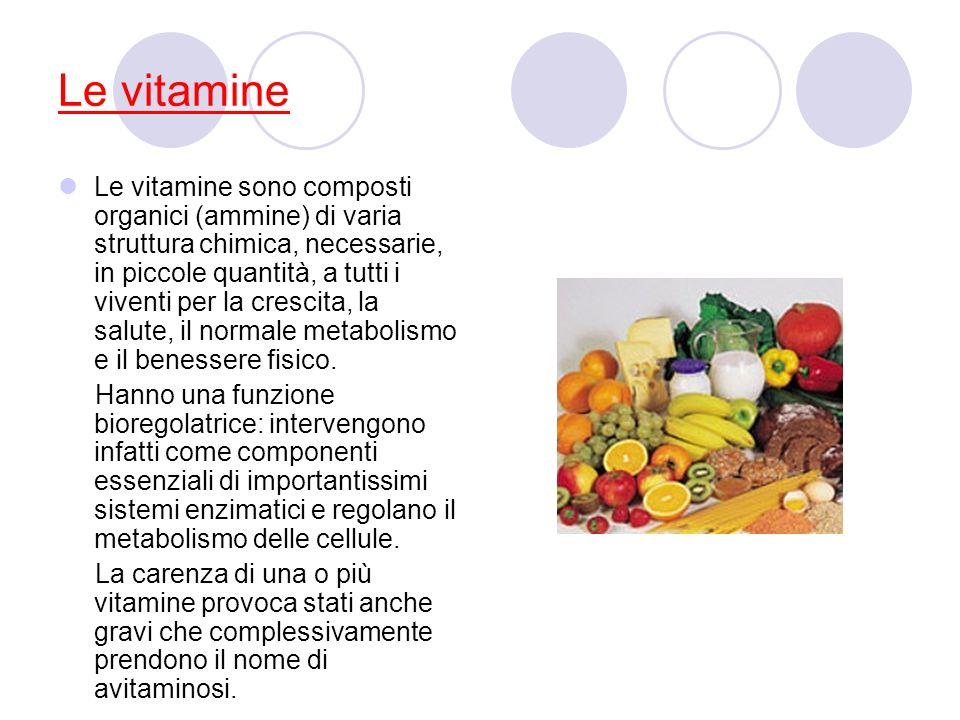 Le vitamine Le vitamine sono composti organici (ammine) di varia struttura chimica, necessarie, in piccole quantità, a tutti i viventi per la crescita