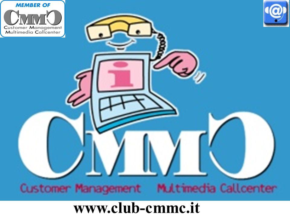 Gli scopi del Club CMMC Customer Management Multimedia Callcenter CMMC, attivo dal 1997, raggruppa circa 150 società con call center in Italia ed ha i seguenti scopi: Favorire lo sviluppo delle strategie e dei servizi Crm di qualità in Italia.