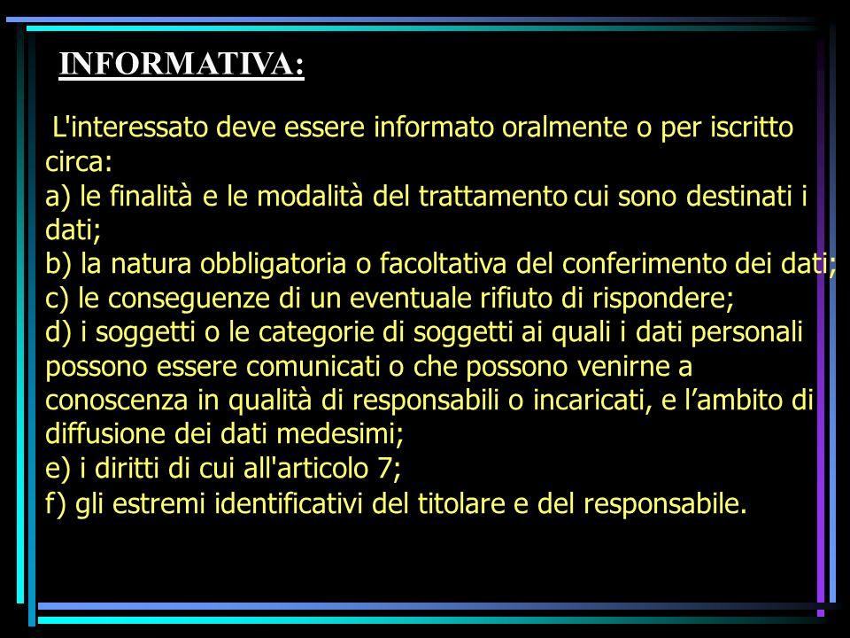 INFORMATIVA: L'interessato deve essere informato oralmente o per iscritto circa: a) le finalità e le modalità del trattamento cui sono destinati i dat