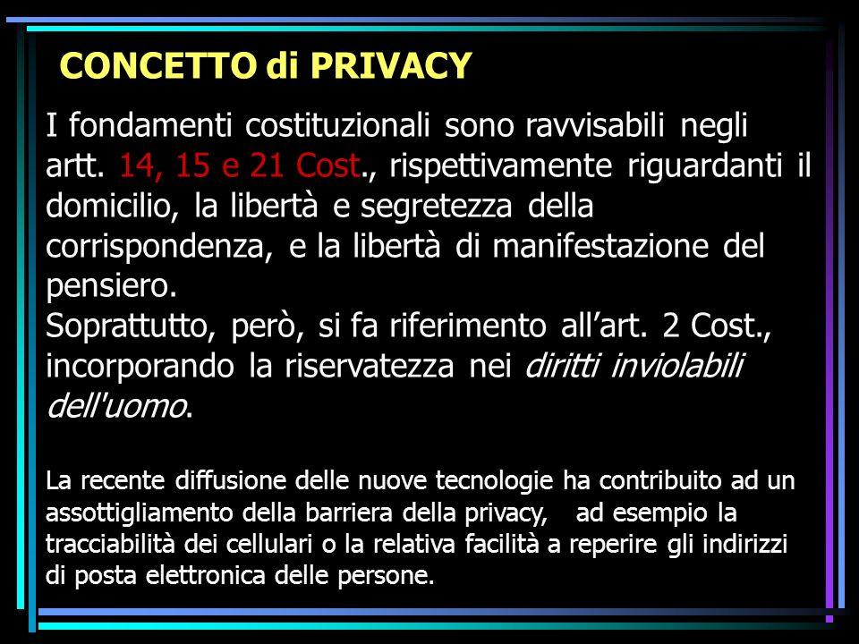 CONCETTO di PRIVACY I fondamenti costituzionali sono ravvisabili negli artt. 14, 15 e 21 Cost., rispettivamente riguardanti il domicilio, la libertà e
