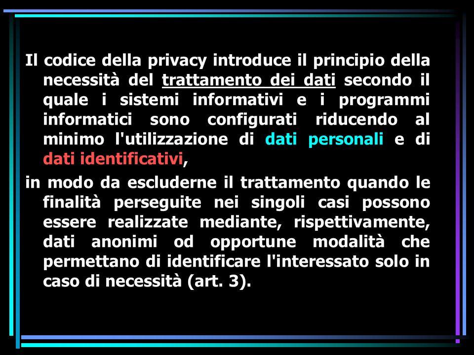 IL CONSENSO: La Legge 675/96 prevede il consenso dei soggetti interessati per l utilizzo dei dati personali, ossia per la loro raccolta, registrazione, organizzazione, conservazione ed elaborazione.