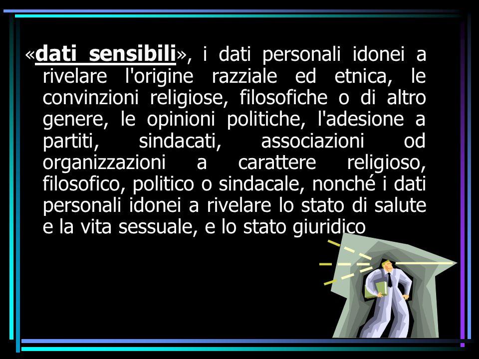 « dati sensibili », i dati personali idonei a rivelare l'origine razziale ed etnica, le convinzioni religiose, filosofiche o di altro genere, le opini