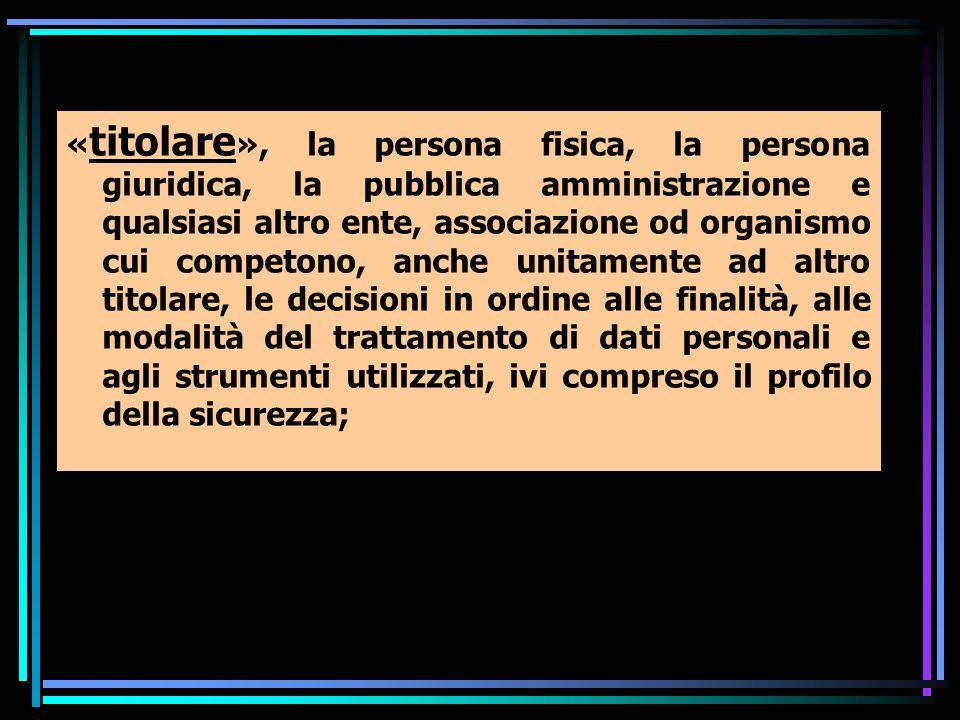 « titolare », la persona fisica, la persona giuridica, la pubblica amministrazione e qualsiasi altro ente, associazione od organismo cui competono, an