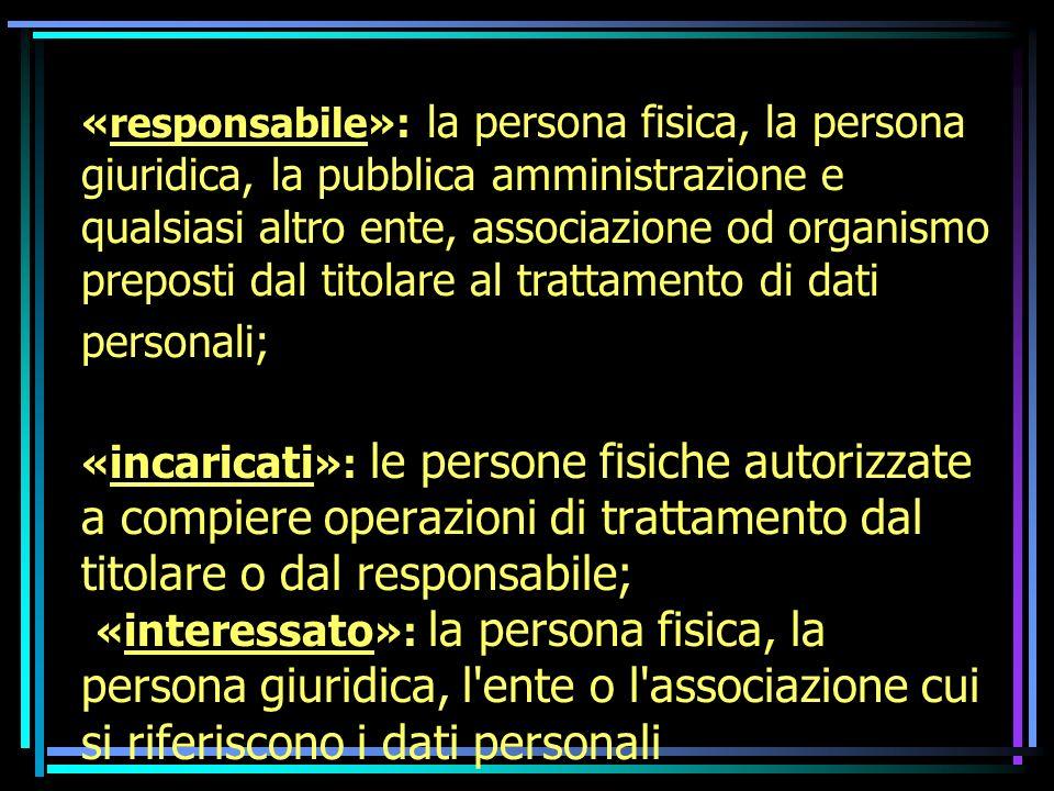 « interessato »: la persona fisica, la persona giuridica, l ente o l associazione cui si riferiscono i dati personali