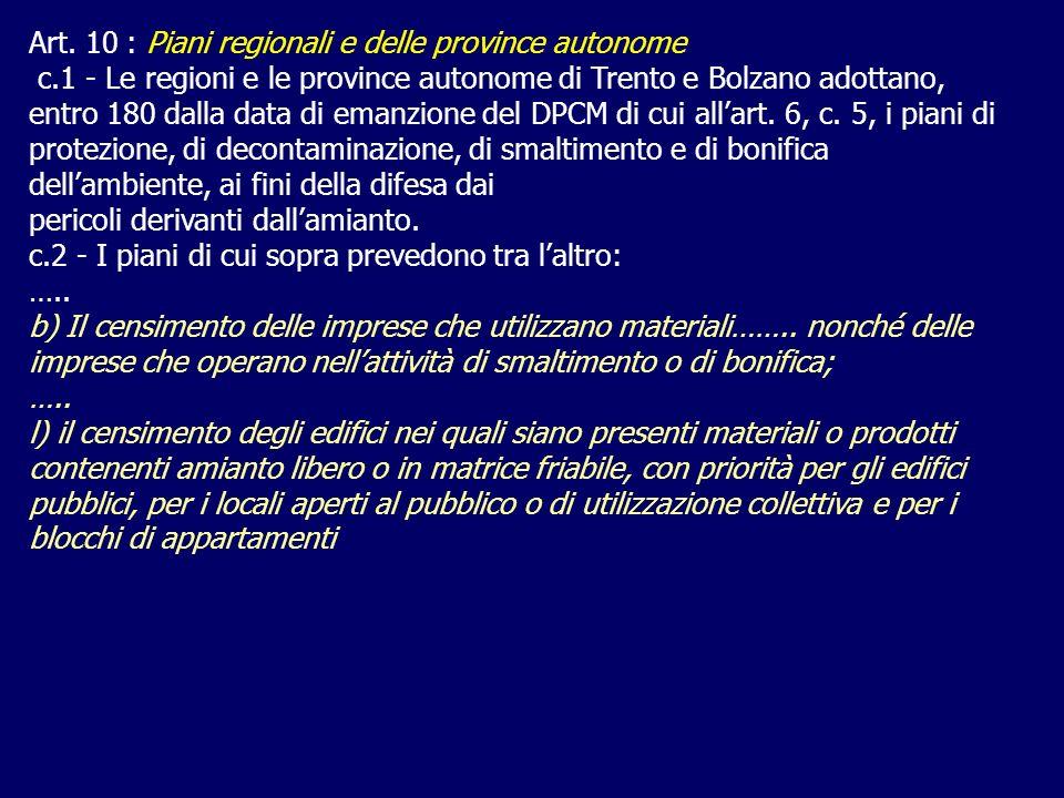Art. 10 : Piani regionali e delle province autonome c.1 - Le regioni e le province autonome di Trento e Bolzano adottano, entro 180 dalla data di eman
