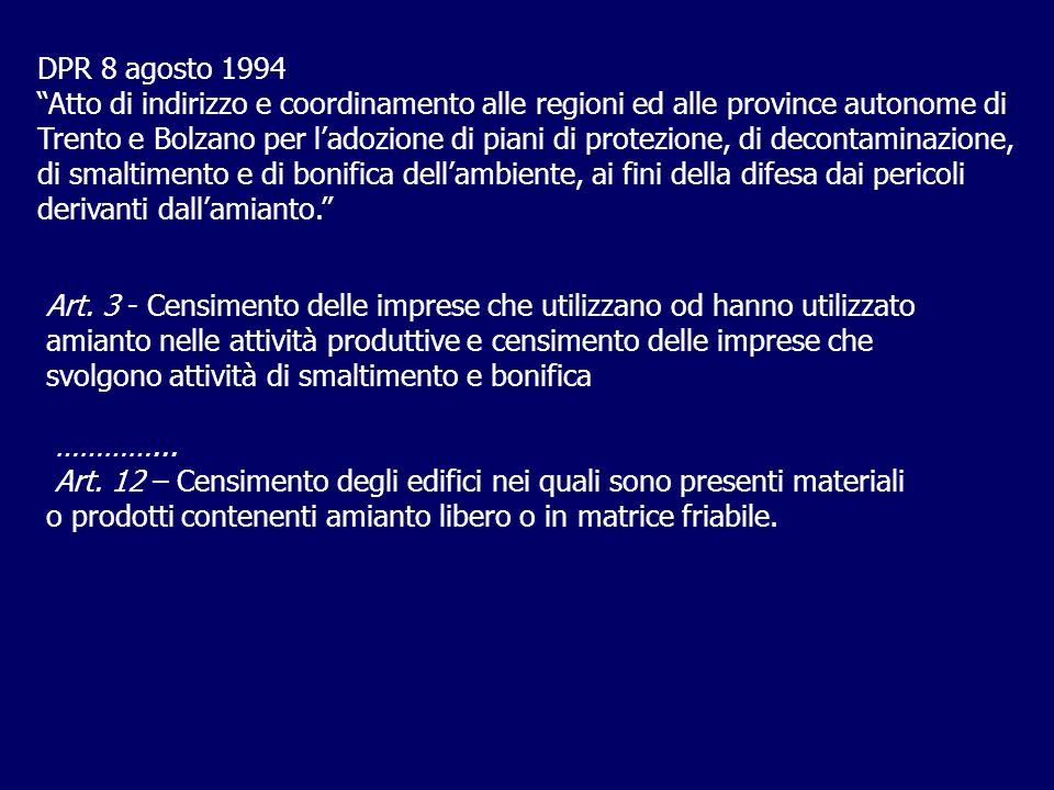 DPR 8 agosto 1994 Atto di indirizzo e coordinamento alle regioni ed alle province autonome di Trento e Bolzano per ladozione di piani di protezione, di decontaminazione, di smaltimento e di bonifica dellambiente, ai fini della difesa dai pericoli derivanti dallamianto.