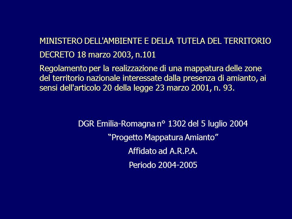 MINISTERO DELL AMBIENTE E DELLA TUTELA DEL TERRITORIO DECRETO 18 marzo 2003, n.101 Regolamento per la realizzazione di una mappatura delle zone del territorio nazionale interessate dalla presenza di amianto, ai sensi dell articolo 20 della legge 23 marzo 2001, n.