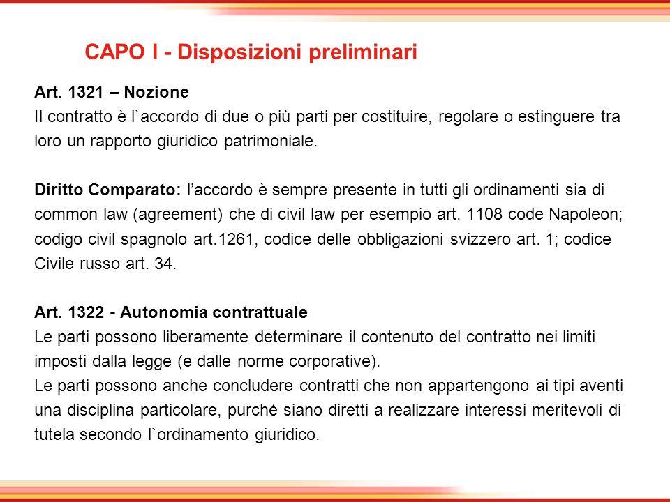 CAPO I - Disposizioni preliminari Art. 1321 – Nozione Il contratto è l`accordo di due o più parti per costituire, regolare o estinguere tra loro un ra