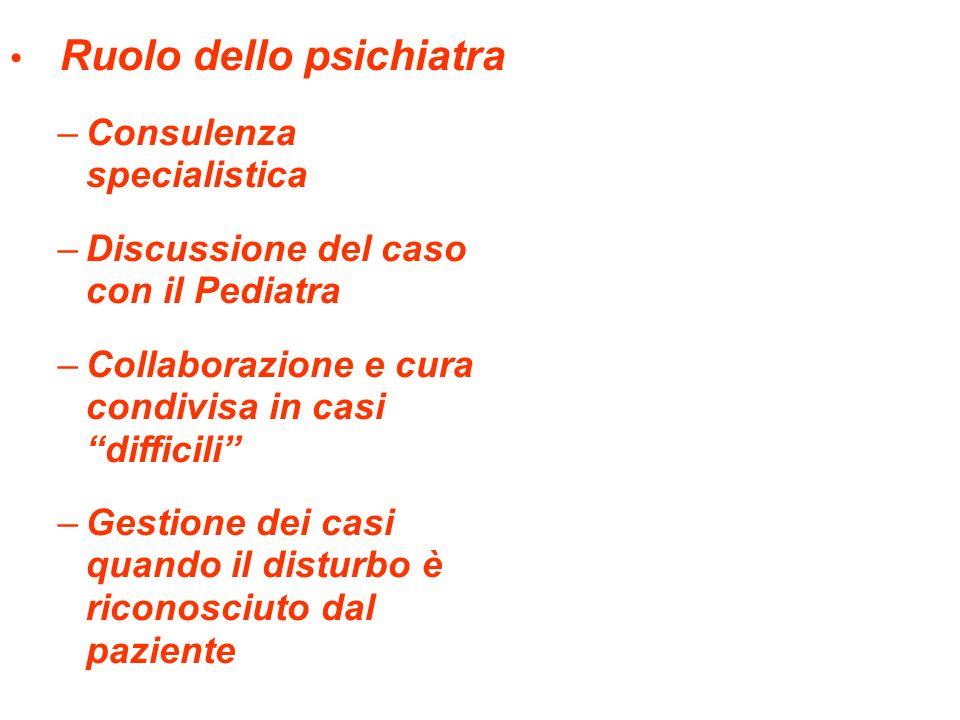 Ruolo dello psichiatra –Consulenza specialistica –Discussione del caso con il Pediatra –Collaborazione e cura condivisa in casi difficili –Gestione dei casi quando il disturbo è riconosciuto dal paziente