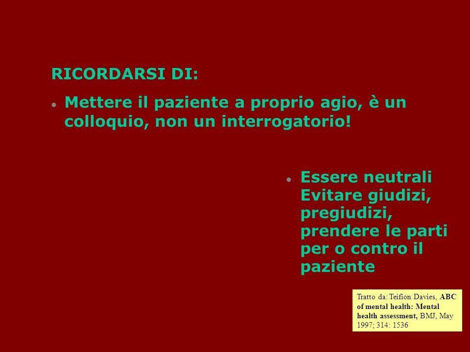 RICORDARSI DI: Mettere il paziente a proprio agio, è un colloquio, non un interrogatorio.