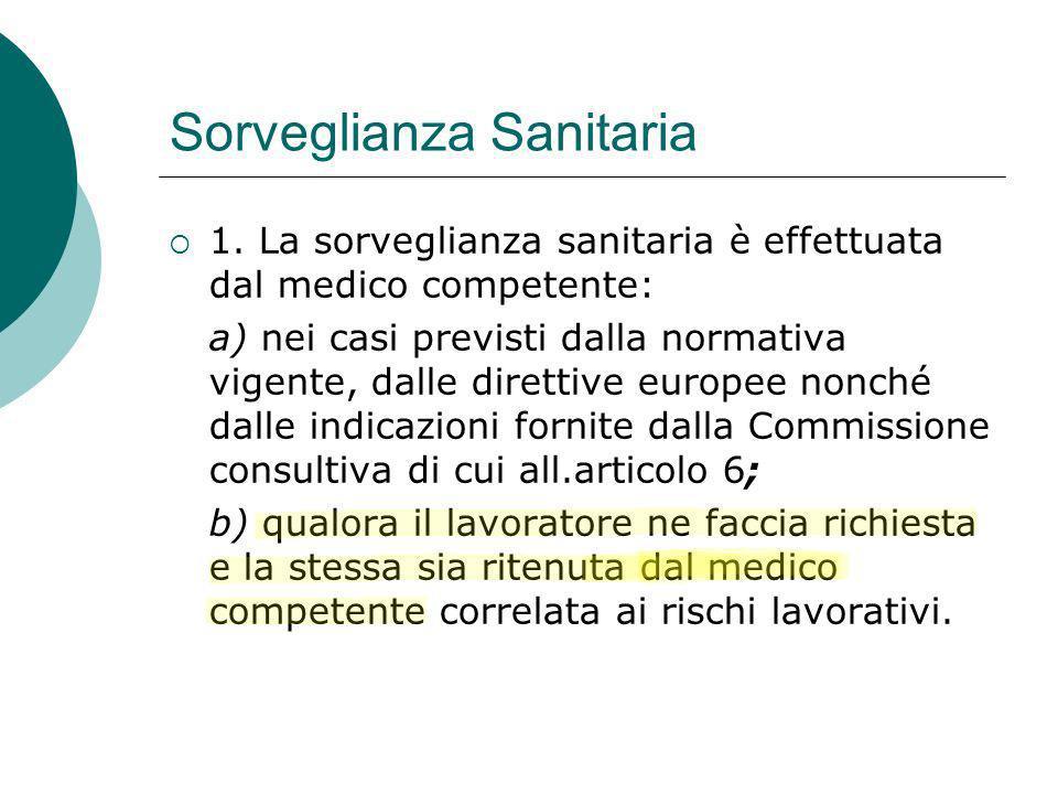 Sorveglianza Sanitaria 1. La sorveglianza sanitaria è effettuata dal medico competente: a) nei casi previsti dalla normativa vigente, dalle direttive