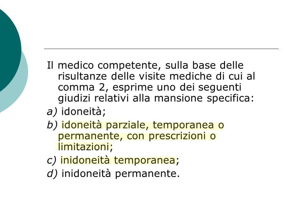 Il medico competente, sulla base delle risultanze delle visite mediche di cui al comma 2, esprime uno dei seguenti giudizi relativi alla mansione spec