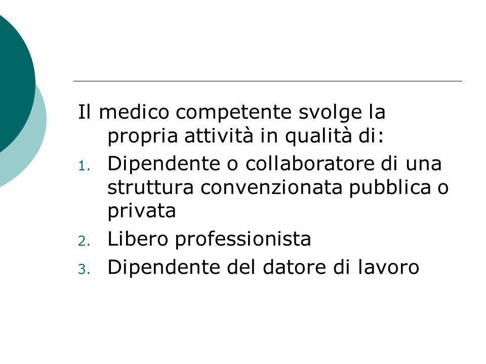 Il medico competente svolge la propria attività in qualità di: 1. Dipendente o collaboratore di una struttura convenzionata pubblica o privata 2. Libe