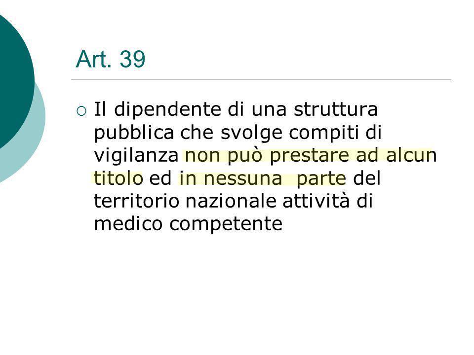 Art. 39 Il dipendente di una struttura pubblica che svolge compiti di vigilanza non può prestare ad alcun titolo ed in nessuna parte del territorio na
