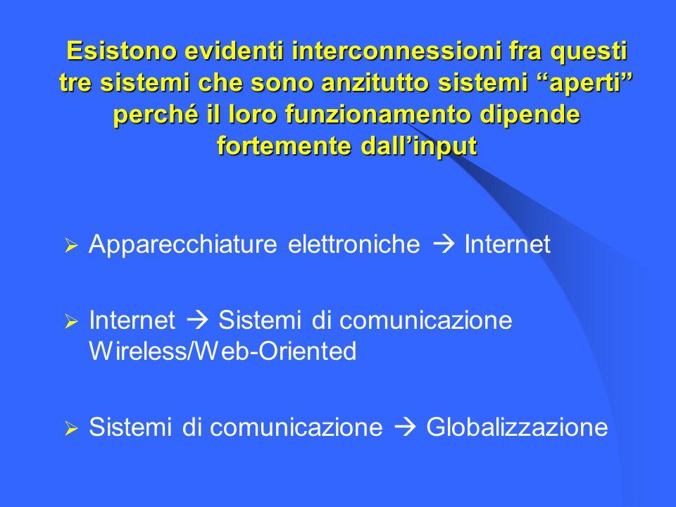Esistono evidenti interconnessioni fra questi tre sistemi che sono anzitutto sistemi aperti perché il loro funzionamento dipende fortemente dallinput