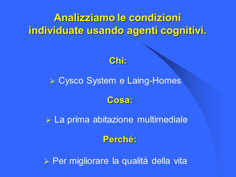 Chi: Cysco System e Laing-Homes Cosa: Perché: Per migliorare la qualità della vita La prima abitazione multimediale Analizziamo le condizioni individu