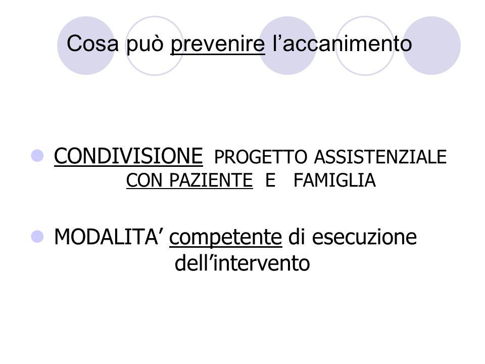 Cosa può prevenire laccanimento CONDIVISIONE PROGETTO ASSISTENZIALE CON PAZIENTE E FAMIGLIA MODALITA competente di esecuzione dellintervento