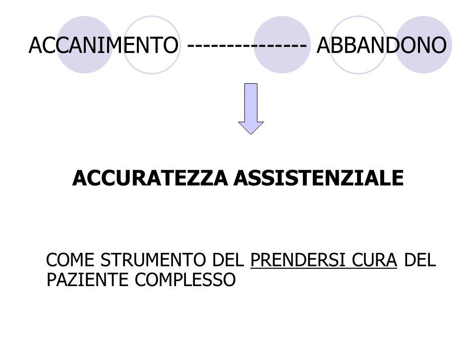 ACCANIMENTO --------------- ABBANDONO ACCURATEZZA ASSISTENZIALE COME STRUMENTO DEL PRENDERSI CURA DEL PAZIENTE COMPLESSO
