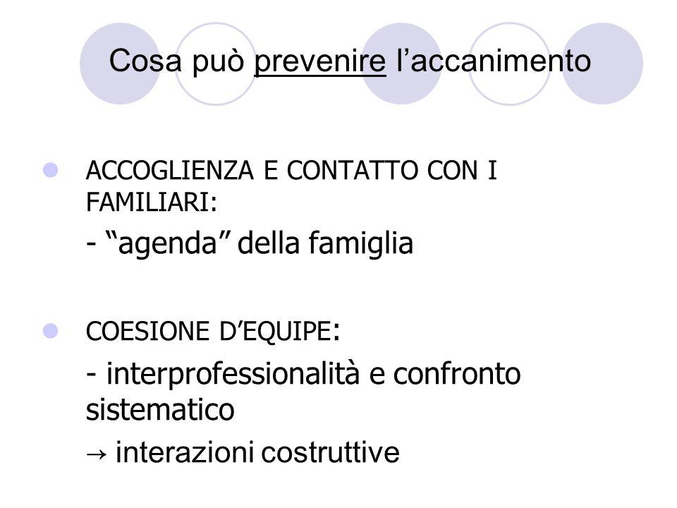 Cosa può prevenire laccanimento ACCOGLIENZA E CONTATTO CON I FAMILIARI: - agenda della famiglia COESIONE DEQUIPE : - interprofessionalità e confronto