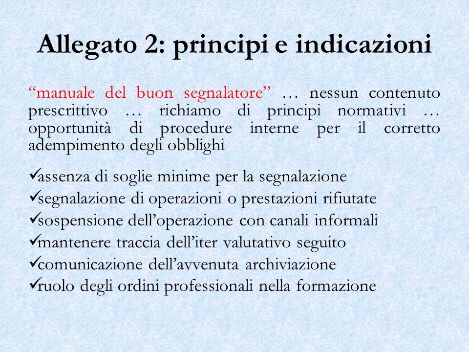 Allegato 2: principi e indicazioni manuale del buon segnalatore … nessun contenuto prescrittivo … richiamo di principi normativi … opportunità di proc