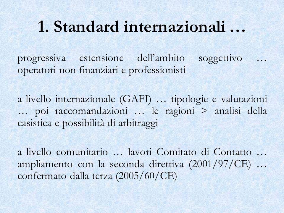 1. Standard internazionali … progressiva estensione dellambito soggettivo … operatori non finanziari e professionisti a livello internazionale (GAFI)