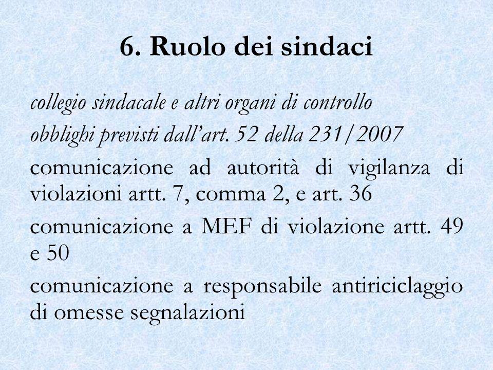 6. Ruolo dei sindaci collegio sindacale e altri organi di controllo obblighi previsti dallart. 52 della 231/2007 comunicazione ad autorità di vigilanz