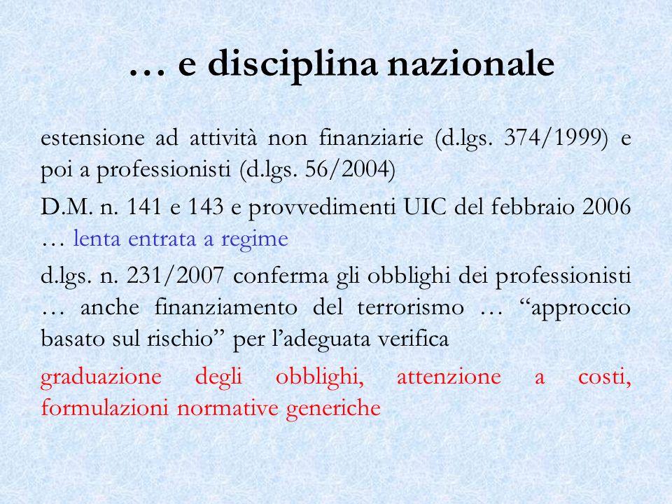 … e disciplina nazionale estensione ad attività non finanziarie (d.lgs. 374/1999) e poi a professionisti (d.lgs. 56/2004) D.M. n. 141 e 143 e provvedi