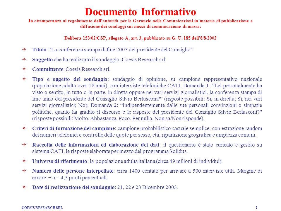 COESIS RESEARCH SRL2 Documento Informativo In ottemperanza al regolamento dellautorità per le Garanzie nelle Comunicazioni in materia di pubblicazione e diffusione dei sondaggi sui mezzi di comunicazione di massa: Delibera 153/02/CSP, allegato A, art.