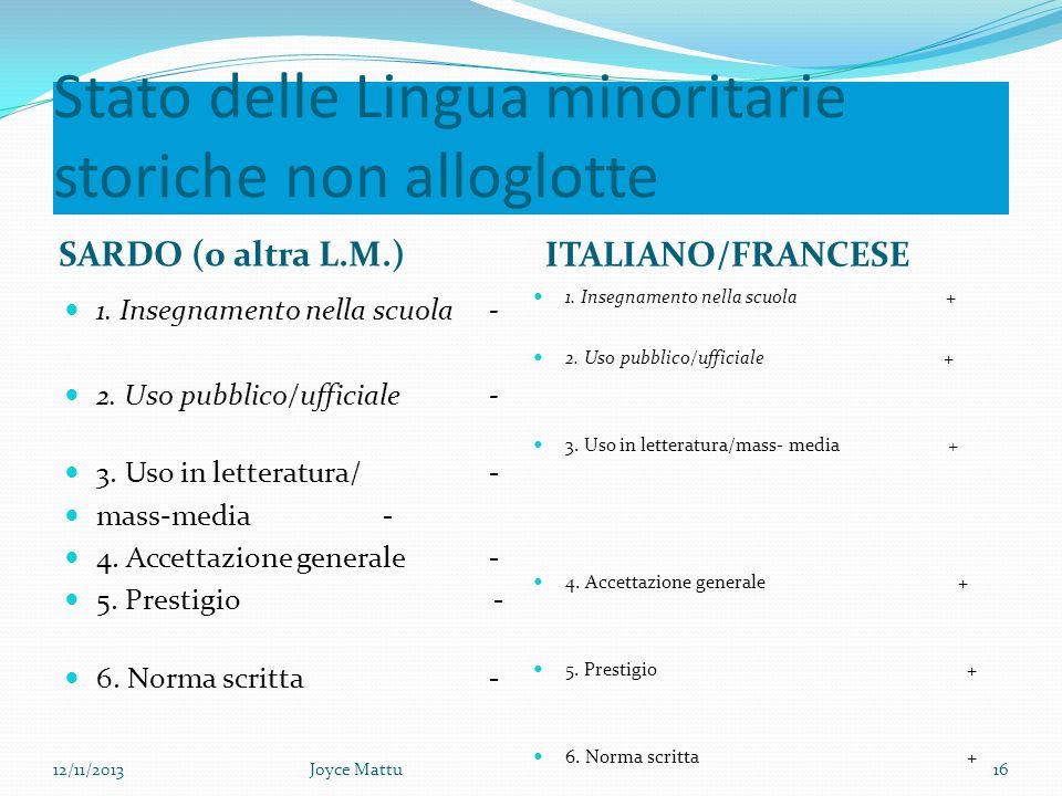 Stato delle Lingua minoritarie storiche non alloglotte SARDO (o altra L.M.) ITALIANO/FRANCESE 1.