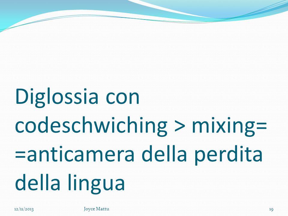 Diglossia con codeschwiching > mixing= =anticamera della perdita della lingua 12/11/201319Joyce Mattu