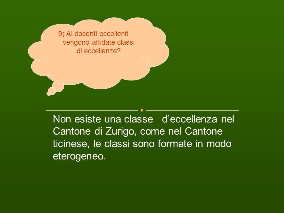 Non esiste una classe deccellenza nel Cantone di Zurigo, come nel Cantone ticinese, le classi sono formate in modo eterogeneo. 9) Ai docenti eccellent