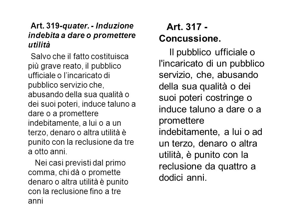 Art. 319-quater. - Induzione indebita a dare o promettere utilità Salvo che il fatto costituisca più grave reato, il pubblico ufficiale o lincaricato