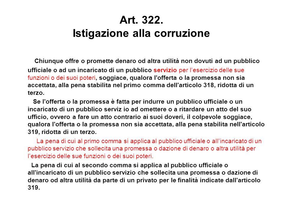 Art. 322. Istigazione alla corruzione Chiunque offre o promette denaro od altra utilità non dovuti ad un pubblico ufficiale o ad un incaricato di un p
