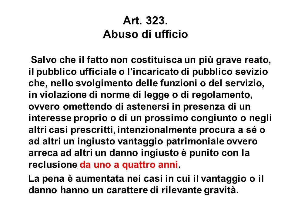 Art. 323. Abuso di ufficio Salvo che il fatto non costituisca un più grave reato, il pubblico ufficiale o l'incaricato di pubblico sevizio che, nello