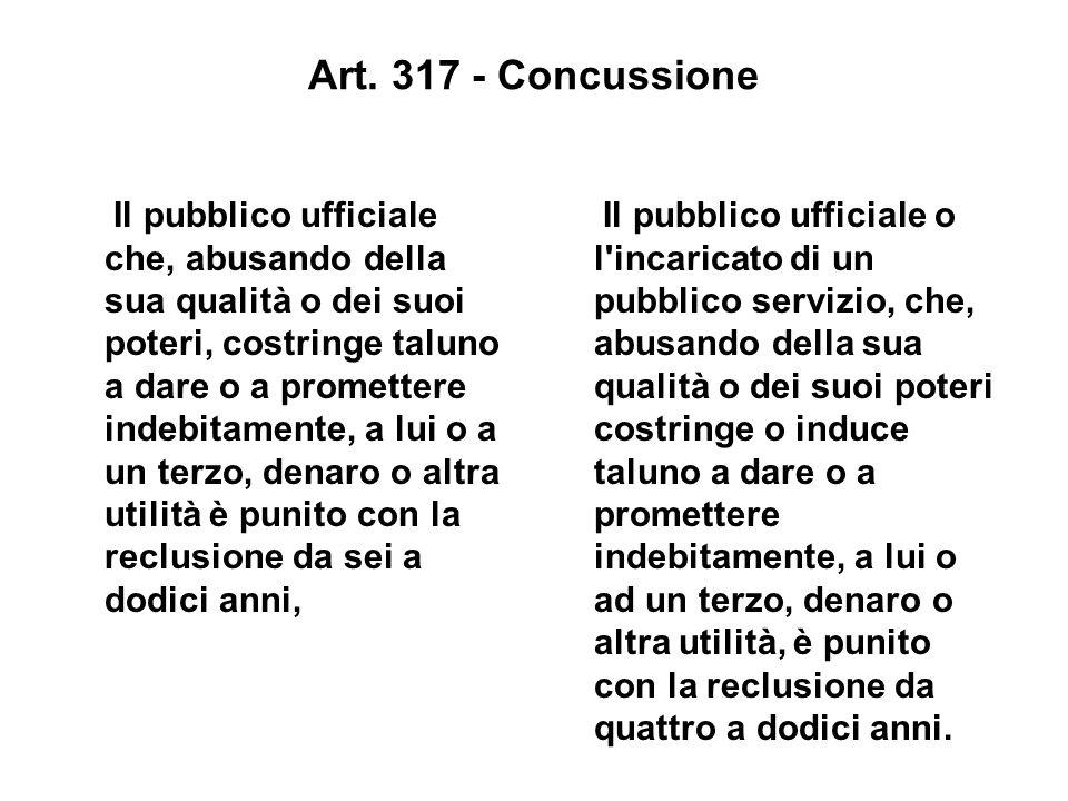 Art. 317 - Concussione Il pubblico ufficiale che, abusando della sua qualità o dei suoi poteri, costringe taluno a dare o a promettere indebitamente,